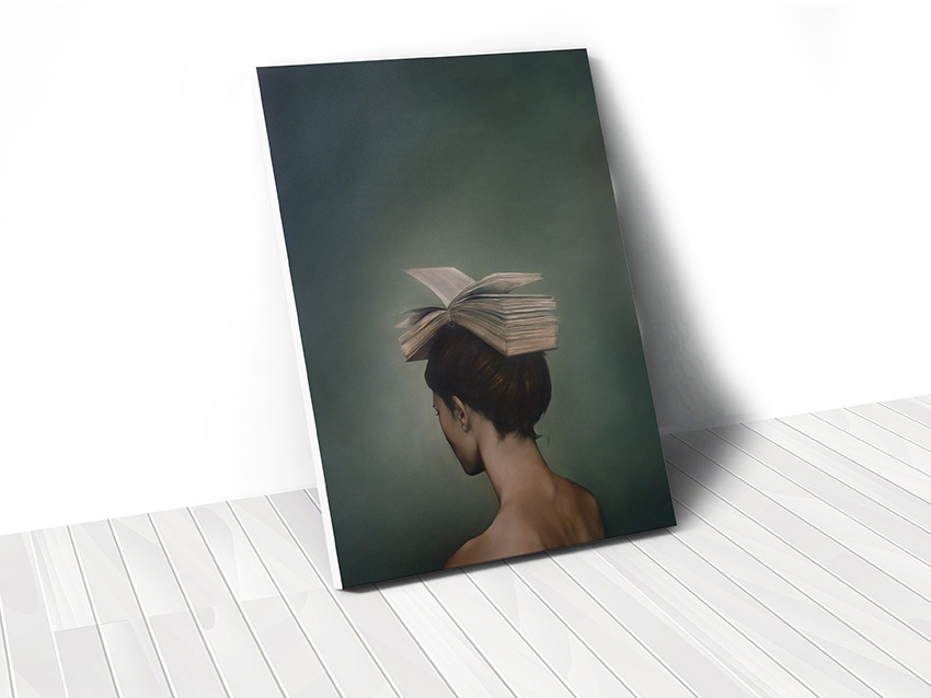Tranh Lady with book abstract