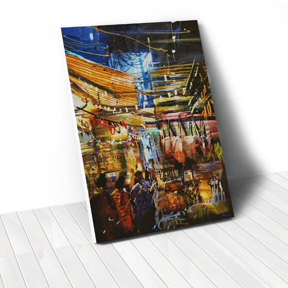 Tranh canvas Market painting