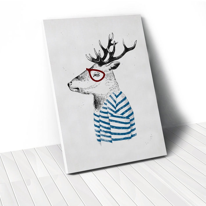 Tranh Deer with blue T-shirt