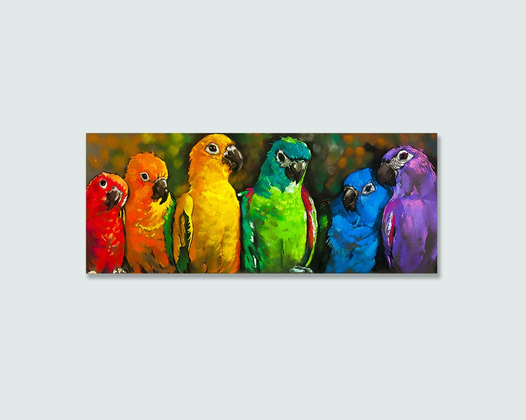 Tranh Parrots, painting, colorful