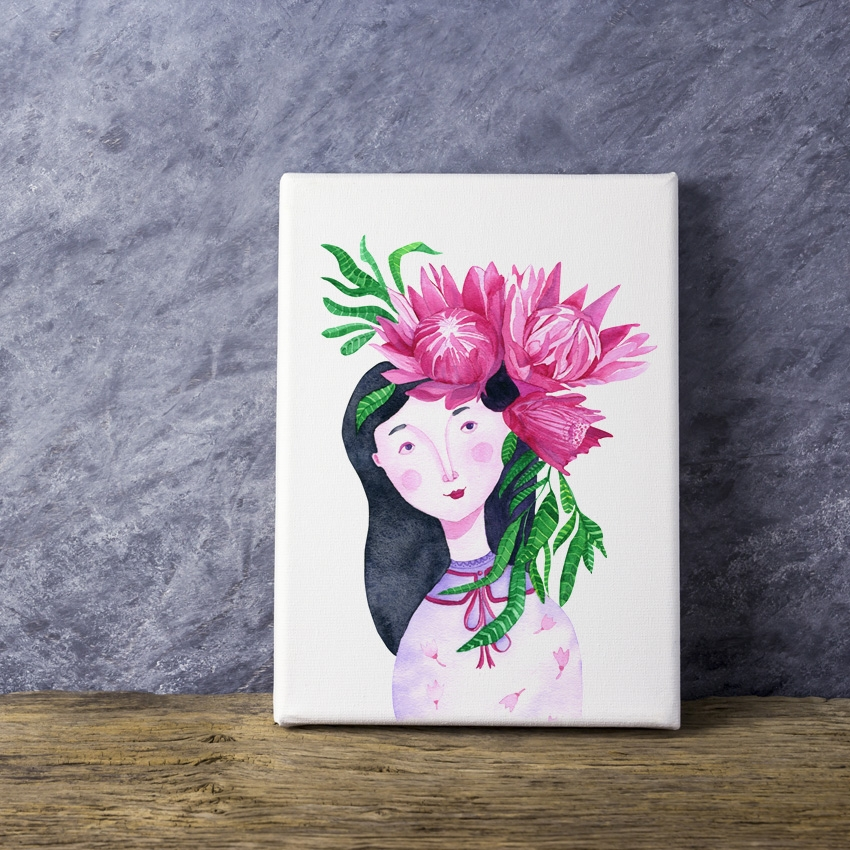 Tranh Girl with flower, watercolor
