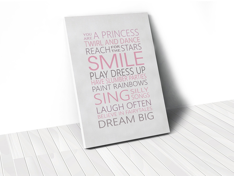 Tranh Smile quote, pink