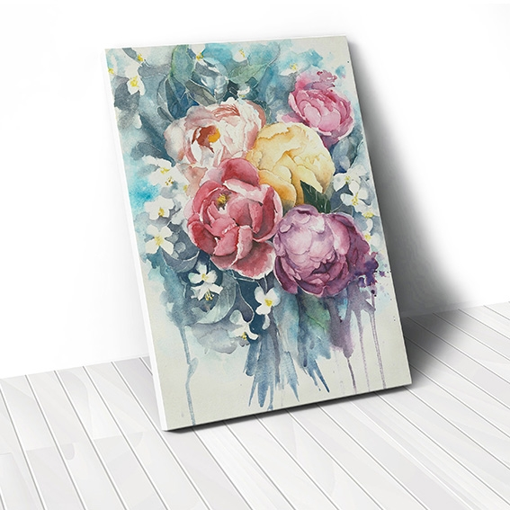 Tranh canvas Watercolor Peony Flower