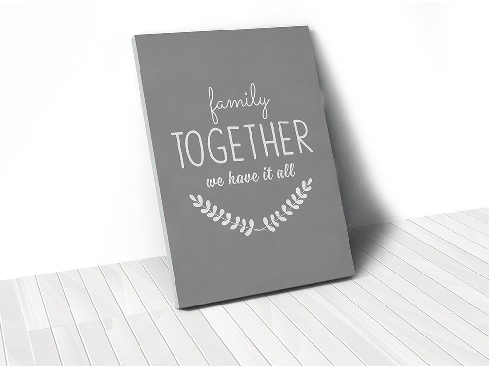 Tranh Family together quote, grey