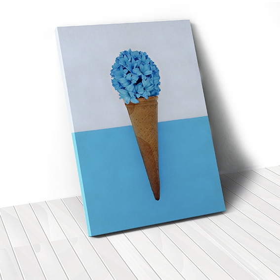 Tranh canvas Blue Flower Ice cream