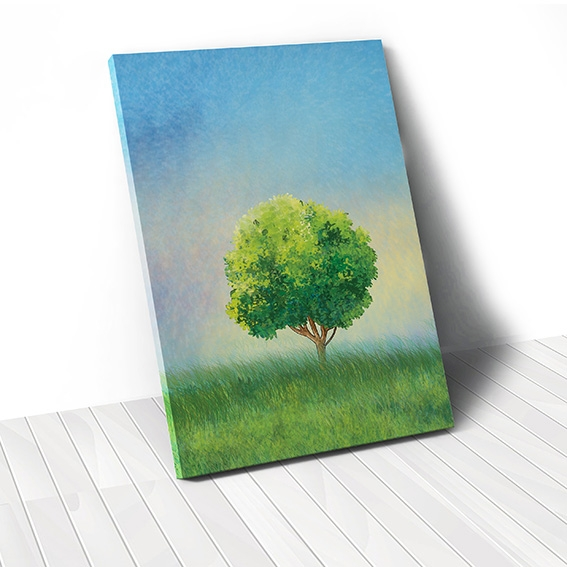 Tranh canvas Lonely Tress, Blue sky, Green Field