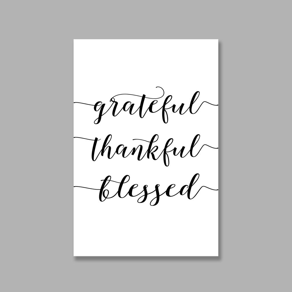 Tranh Grateful, Thankful, Blessed quote