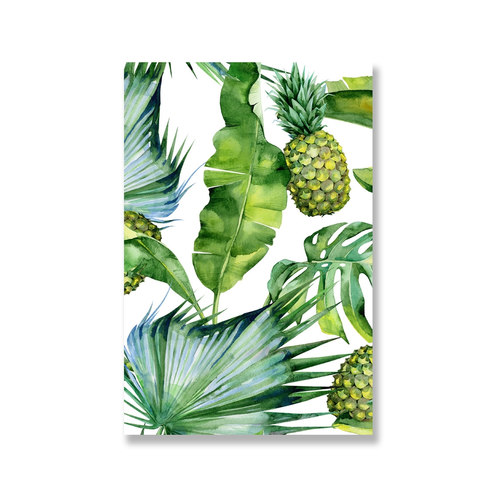 Tranh Tropical, Banana leaves, Pineapple watercolor