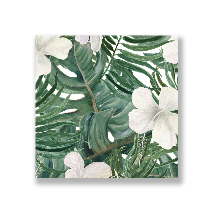 Tranh Palm deliciosa leaves and white hibiscus flowers, tropical