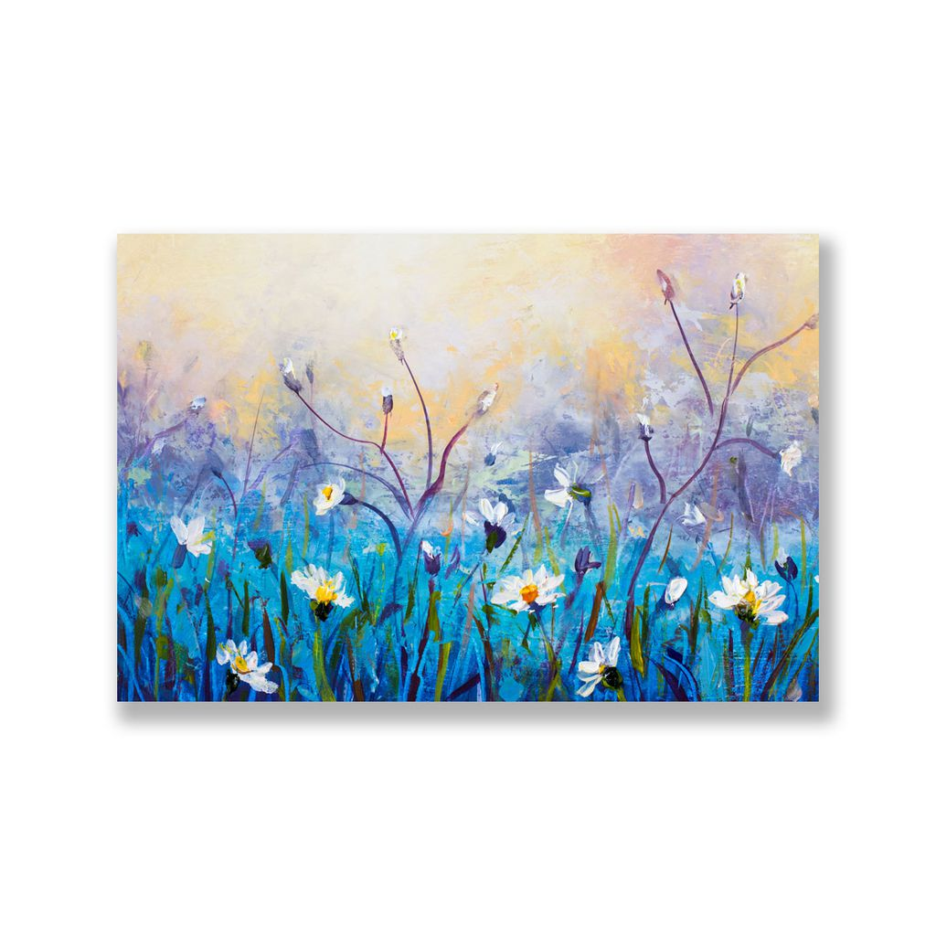 Tranh Daisy flower painting, blue S0218