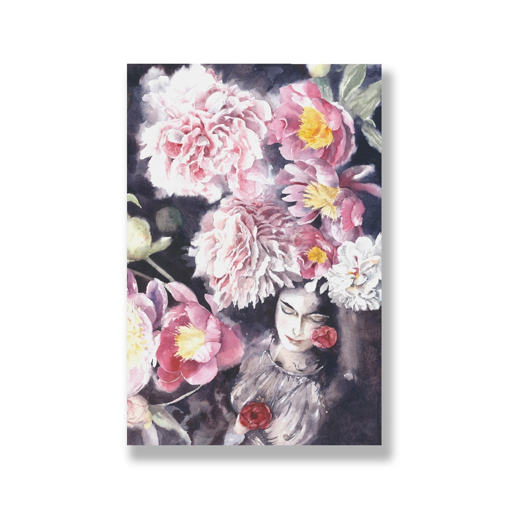 Tranh Floral, flower watercolor, lady S0222