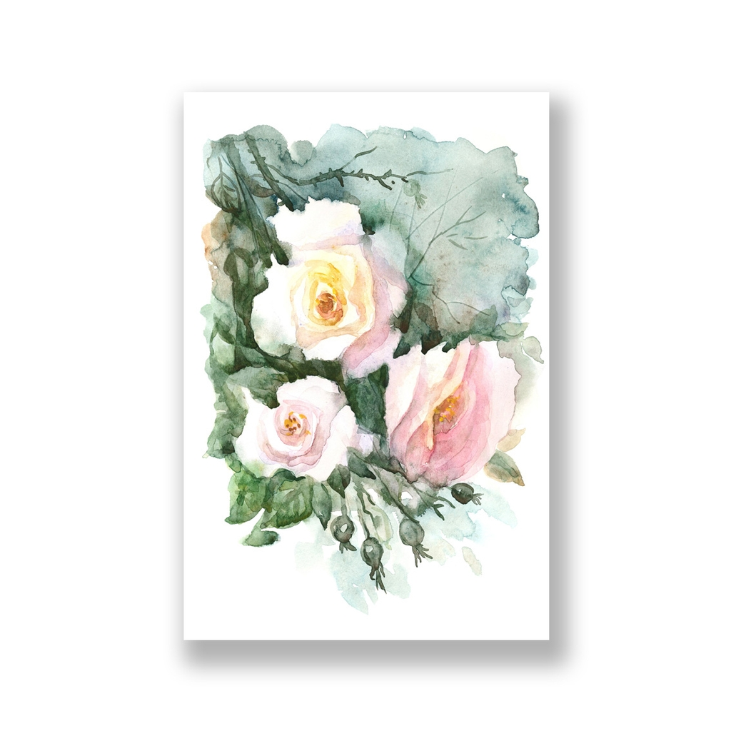 Tranh Roses flower, floral watercolor painting S0224