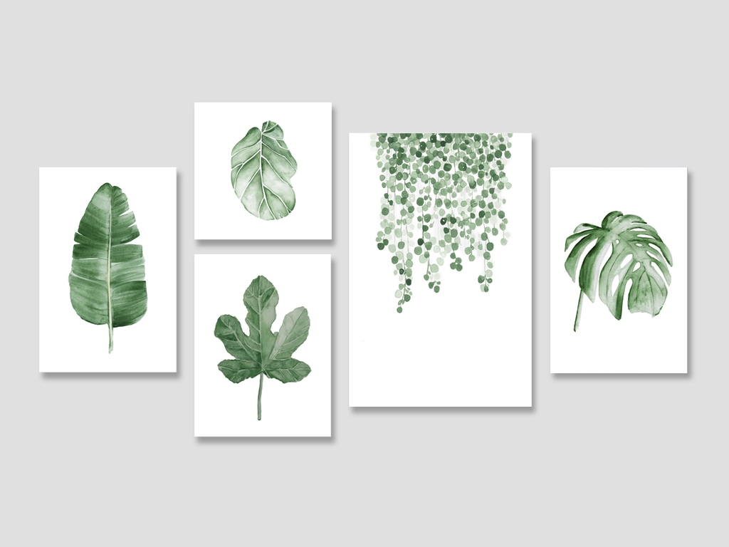 Bộ tranh Botanical, leaves, tropical, watercolor