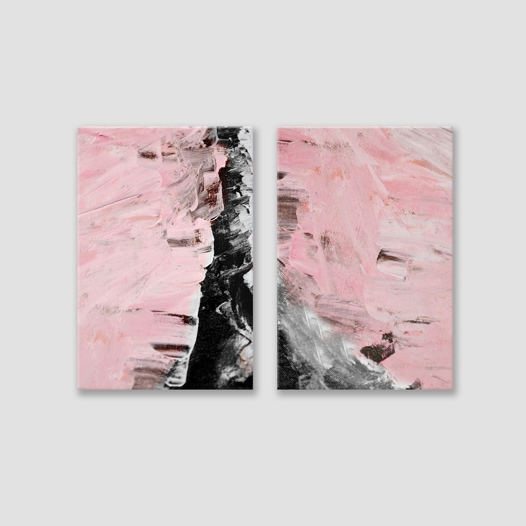 Bộ tranh Abstract, Pink, Black, painting