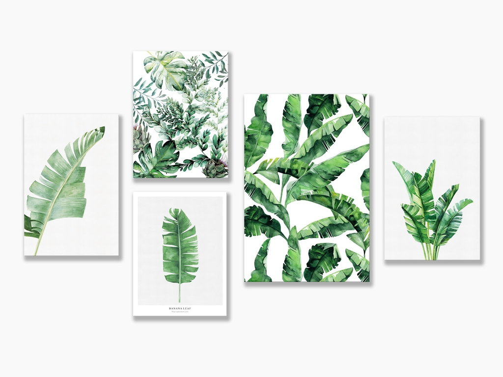 Bộ tranh Botanical, Fern leaves, watercolor