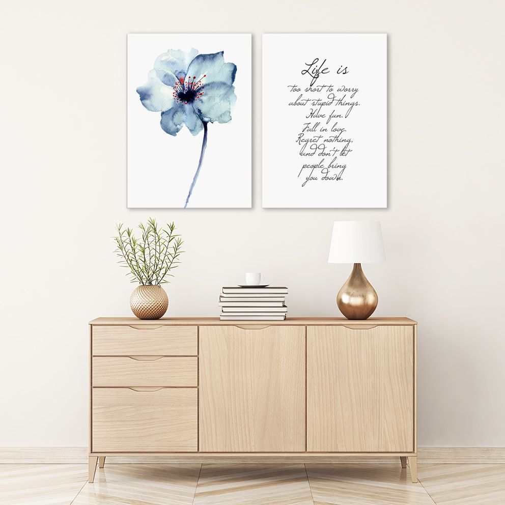Bộ tranh Flower, Life quote 2 x 40x60cm