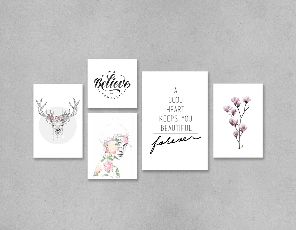 Bộ tranh Always believe in yourself, fashion, beautiful, deer, flower, pink