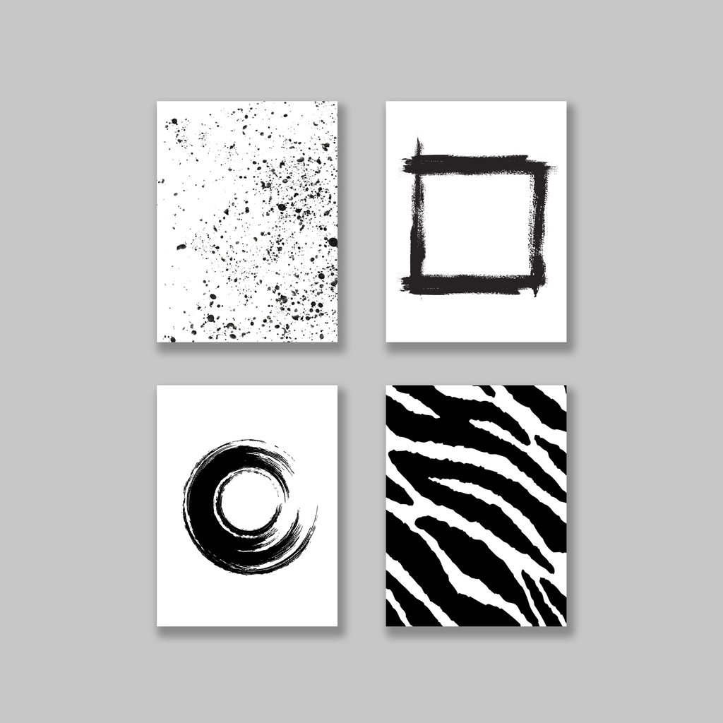 Bộ tranh Abstract, Black & White, Zebra, Scandinavian SE157