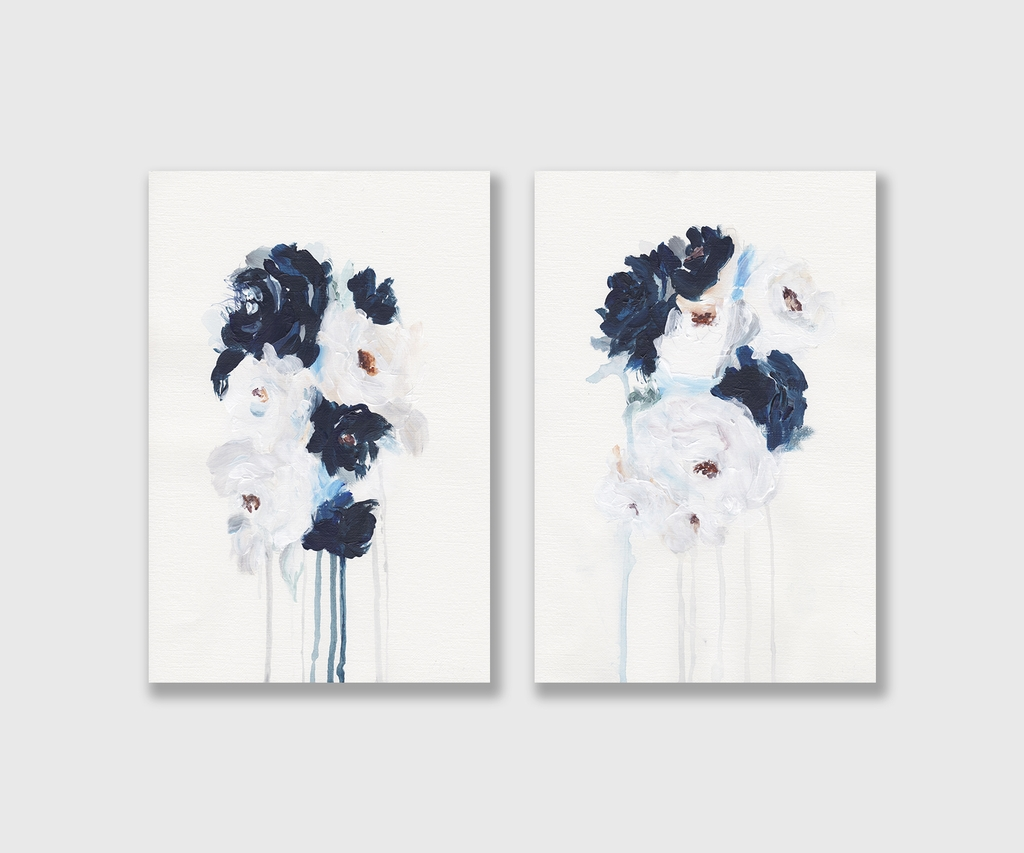 Bộ tranh Flower painting, Blue, Wall art SE162