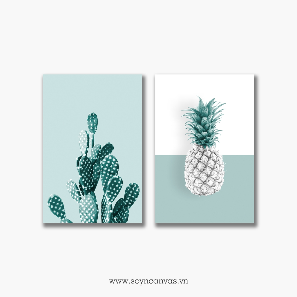 Bộ tranh Cactus, Pineapple, Tropical, Pastel color SE264