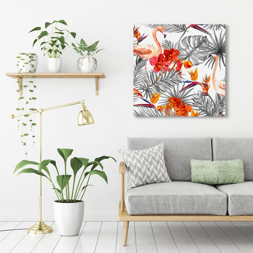 Tranh Tropical, botanical, flamingo pattern