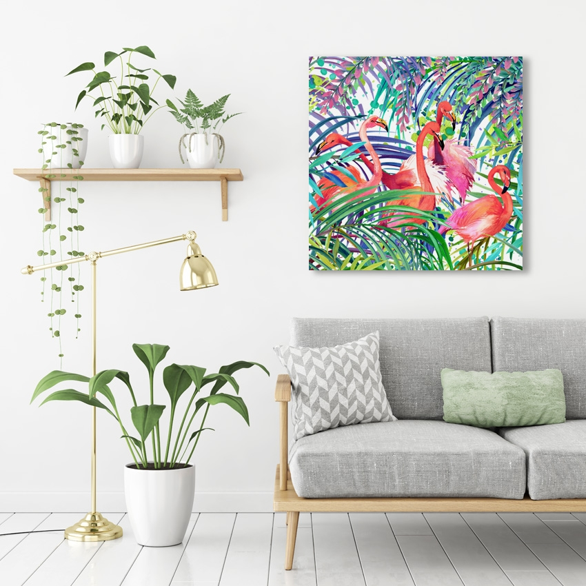 Tranh Tropical, Botanical pattern, Flamingo