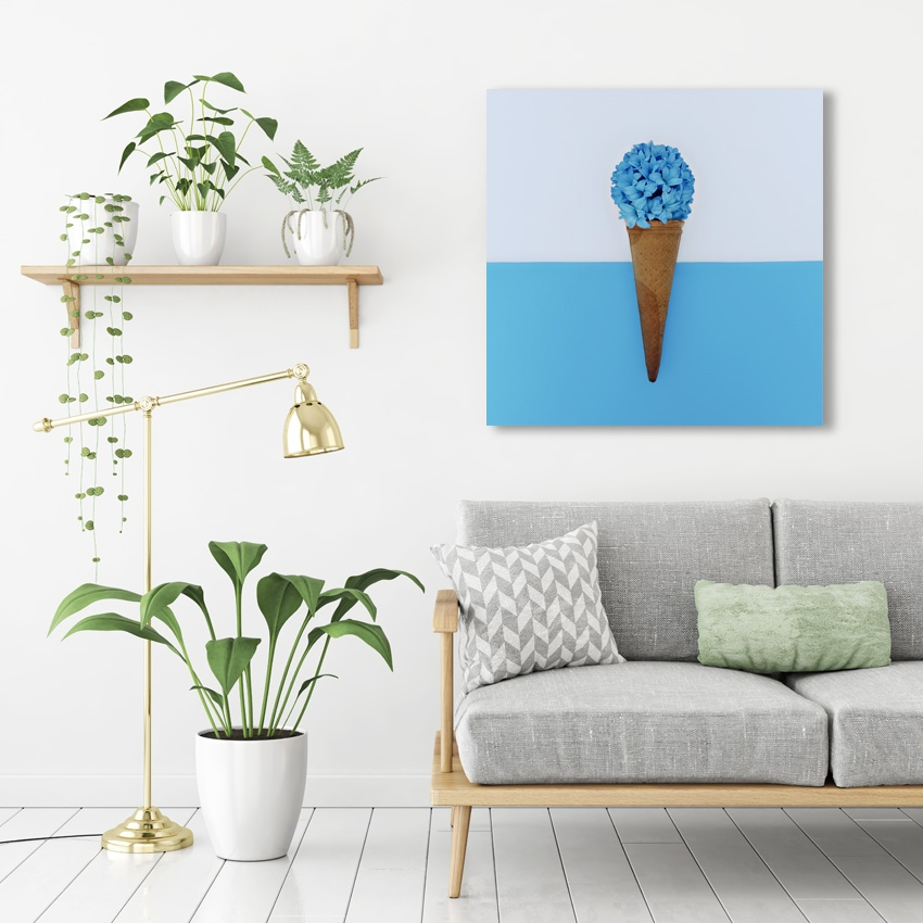 Tranh Flower ice cream, blue
