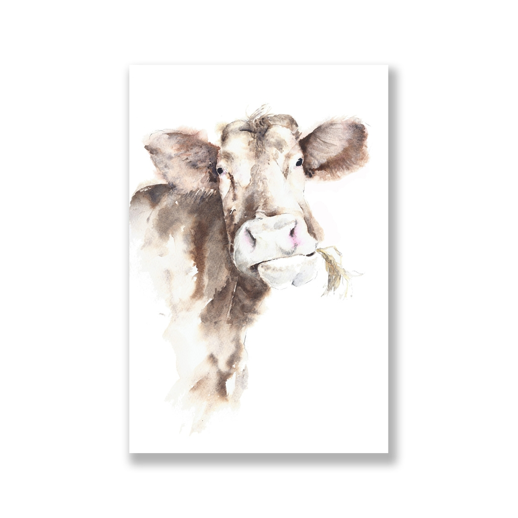 Tranh Cow watercolor painting SN0087