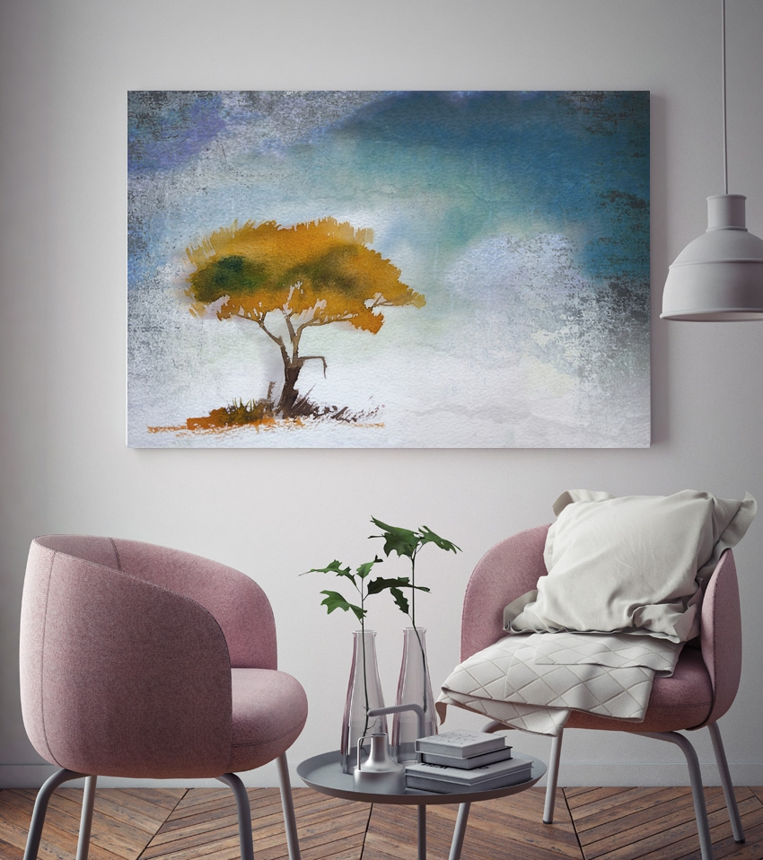 Tranh Lonely tree painting, yellow