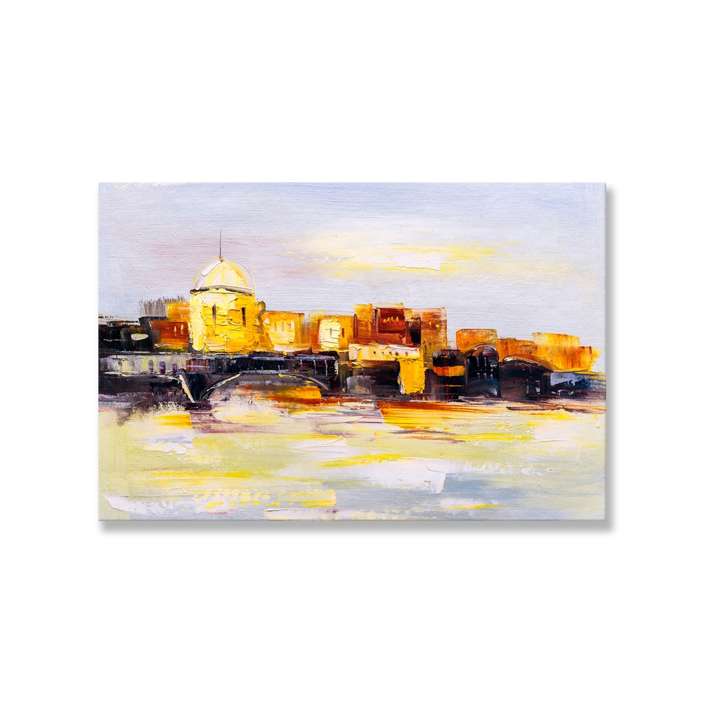Tranh City painting, yellow print SNS0273