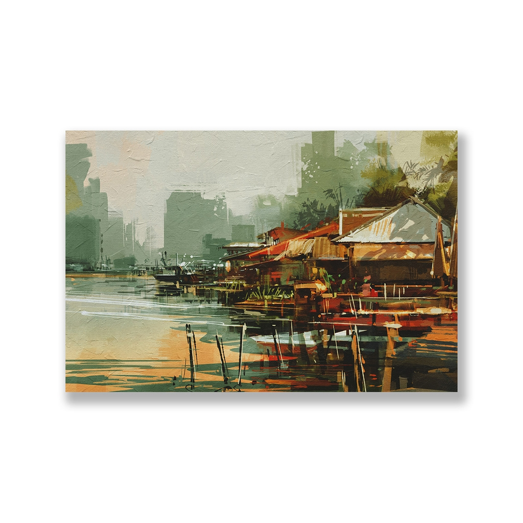 Tranh Landscape, country, river, painting SNS284