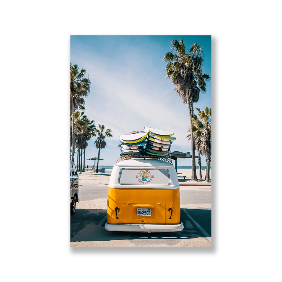 Tranh Summer, Beach, Sea, Travel, Yellow bus