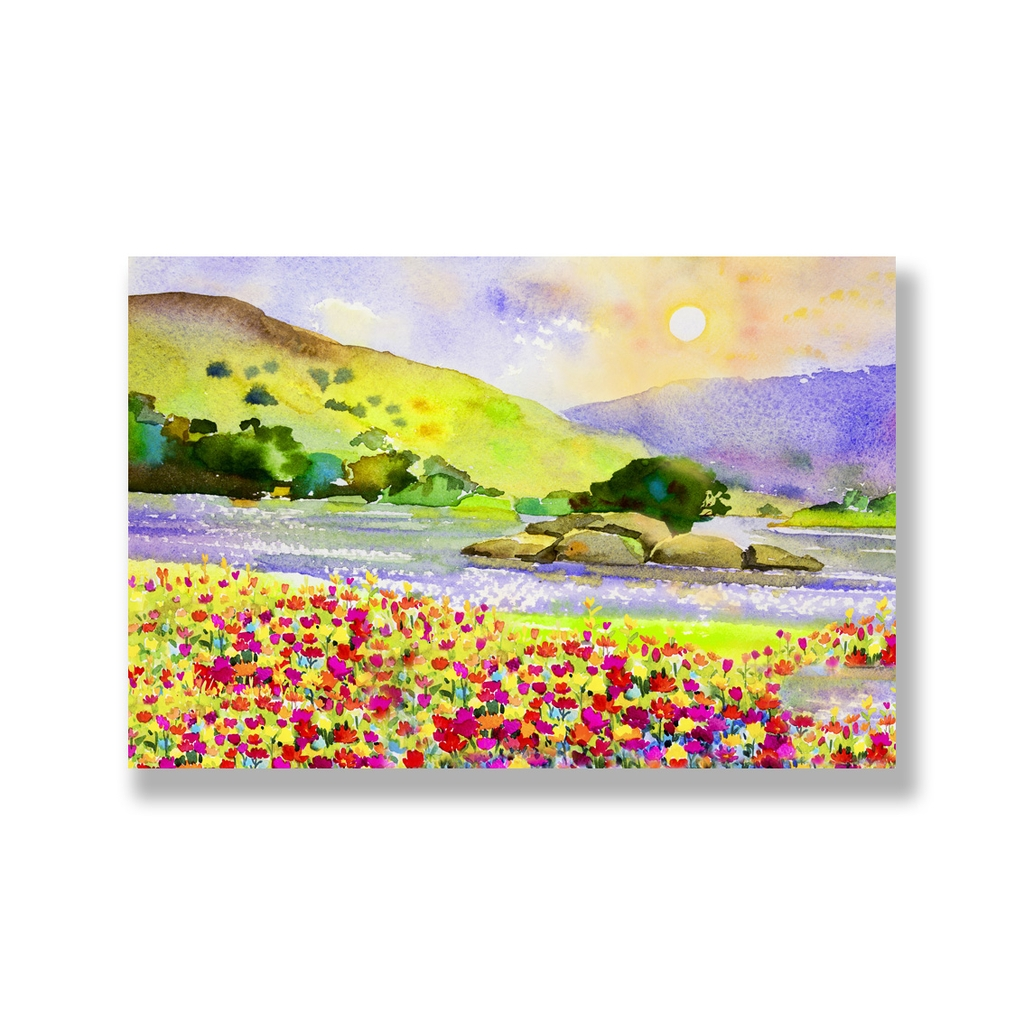 Tranh Landscape, flower field painting, watercolor SNS308