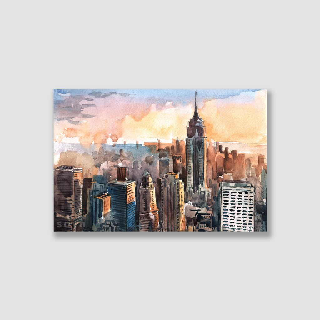 Tranh Landscape, City, Manhattan, New York, Watercolor SNS310