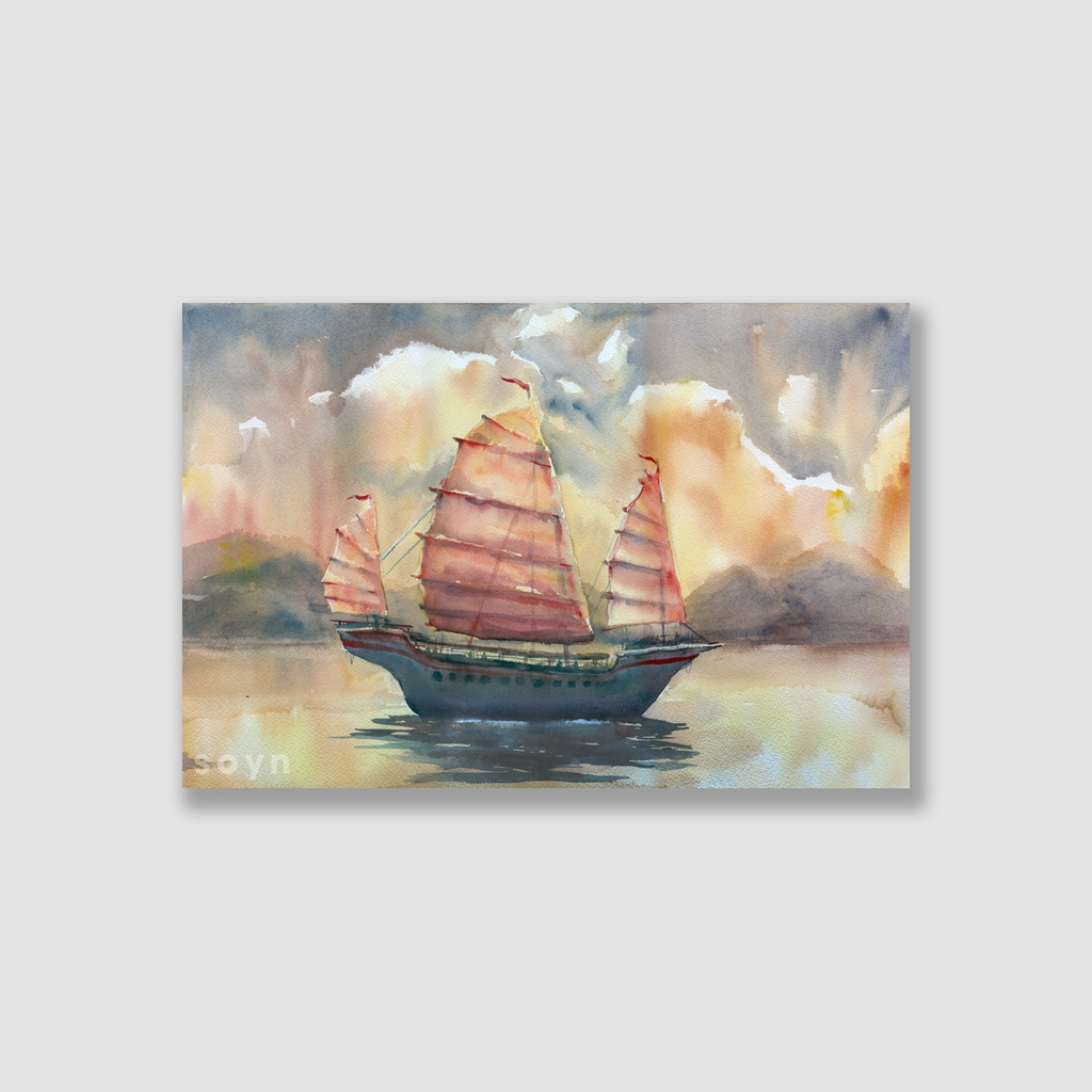 Tranh Sailing boat and sea, Watercolor SNS314