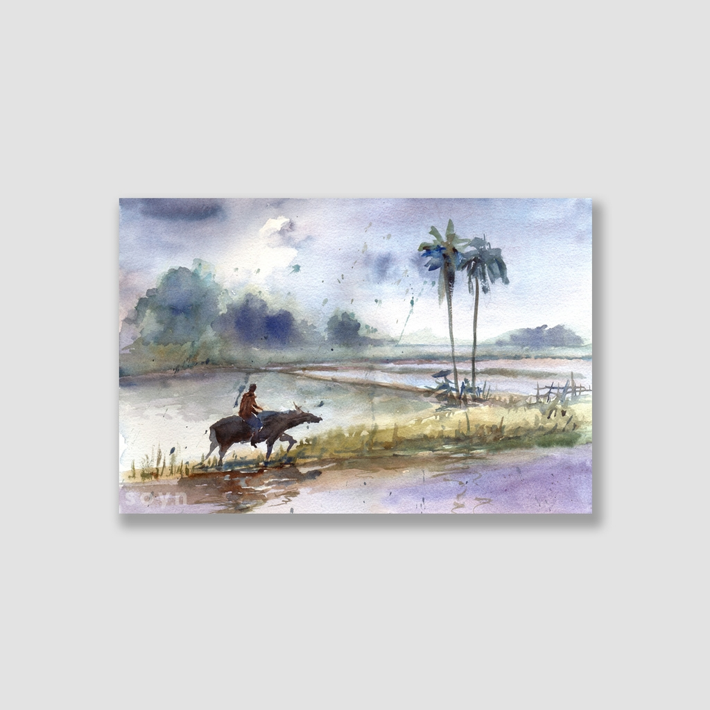 Tranh Farmer at the rice field, Watercolor SNS319