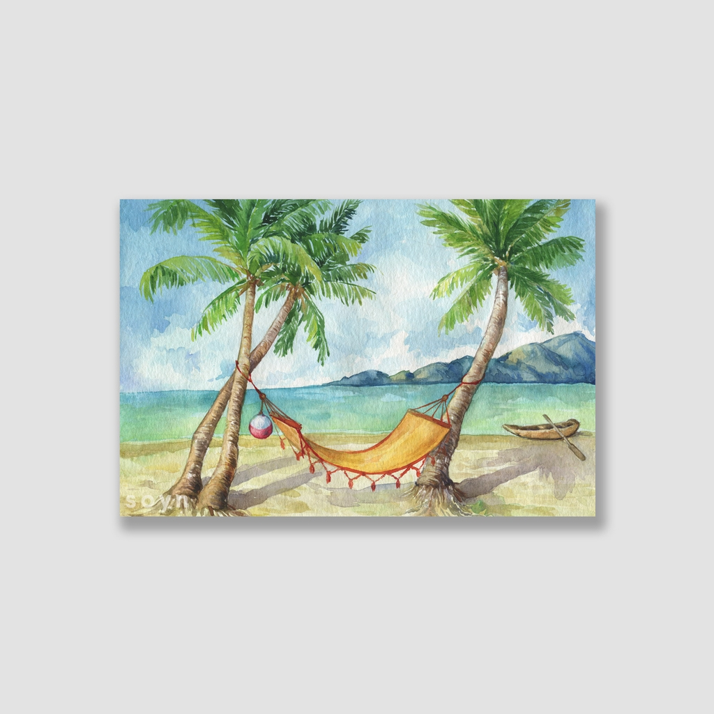 Tranh Summer, Sea, Coconut, Watercolor SNS320