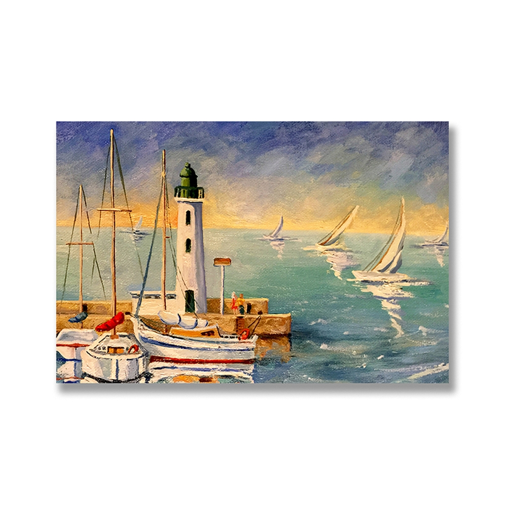 Tranh Canvas Ocean, Boat, Lighthouse SNS329