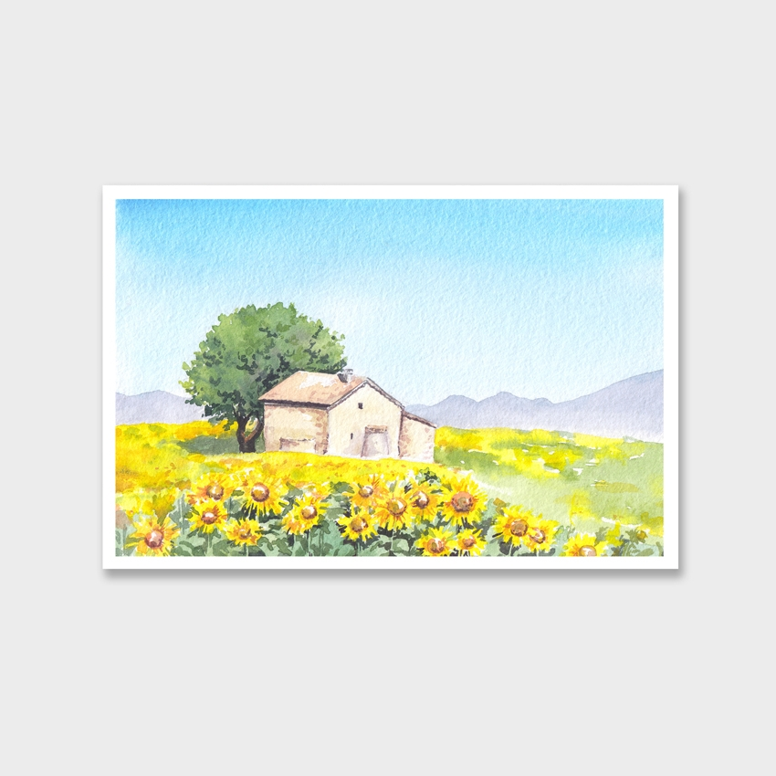 Tranh The house in the sunflower field painting