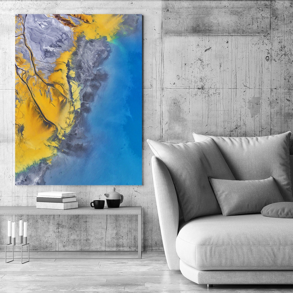 Tranh Abstract Yellow Blue