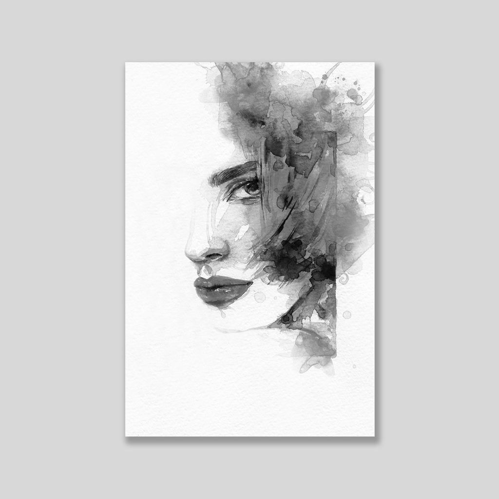 Tranh Lady portrait BW watercolor