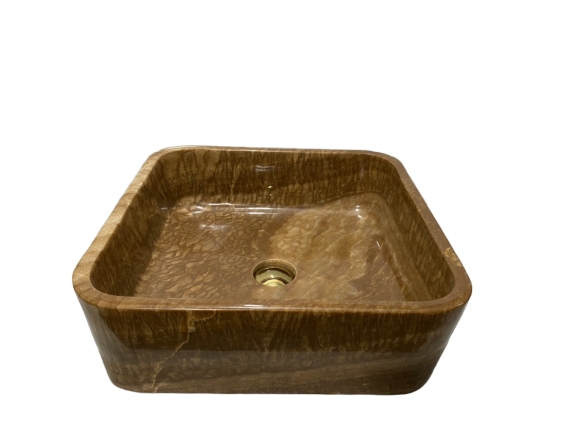 NATURAL STONE BATHROOM BASIN - WOODEN YELLOW - BST58