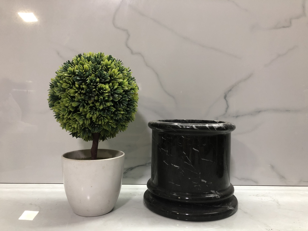 STONE PRODUCTS - CENSER - BLACK MARBLE WITH WHITE LINES
