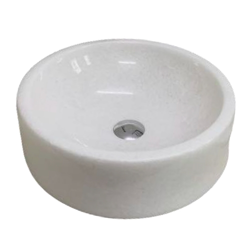 NATURAL STONE BATHROOM BASIN - PURE WHITE - BST67