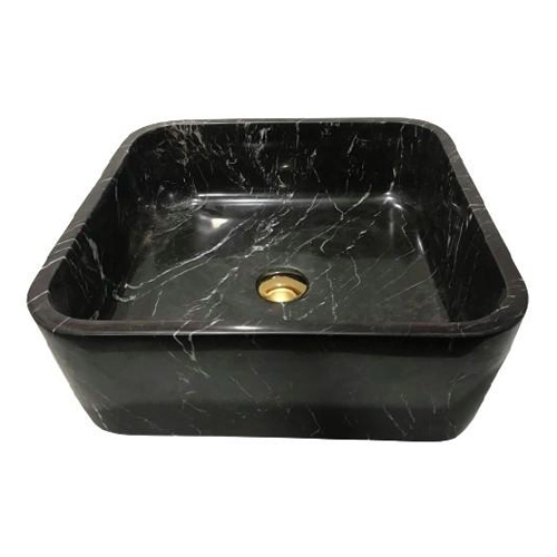 NATURAL STONE BATHROOM BASIN - BLACK MARBLE - BST42
