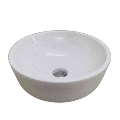 NATURAL STONE BATHROOM BASIN - WHITE MARBLE - BST34
