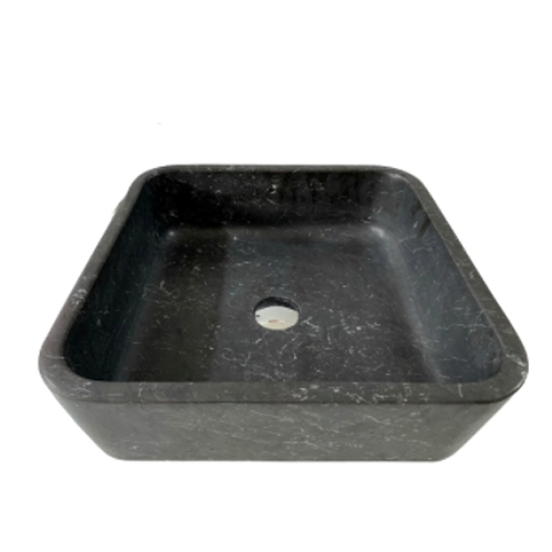 NATURAL STONE BATHROOM BASIN - HONED BLACK MARBLE - BST42A