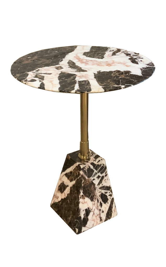 MARBLE SIDE TABLE - PYRAMID FRUSTUM SHAPED BASE - T5- COW BROWN MARBLE