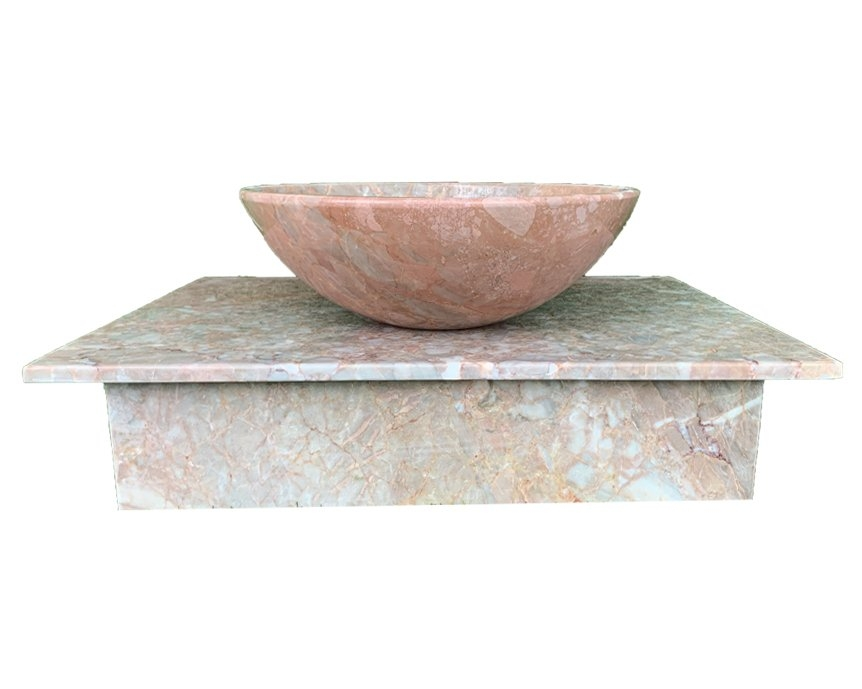 NATURAL STONE LAVABO TABLE - ITALY PINK MARBLE - T07