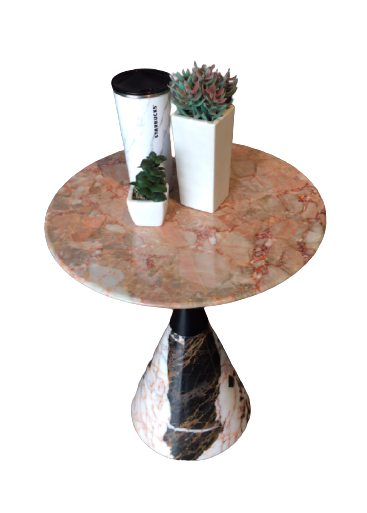 MARBLE LOW SIDE TABLE - CONE SHAPED BASE - T16